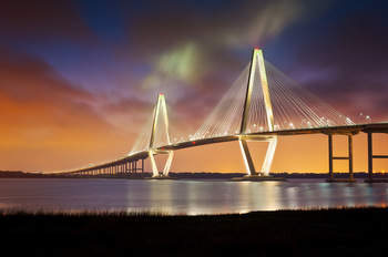 ARTHUR RAVENEL COOPER RIVER SUSPENSION BRIDGE SC © Daveallenphoto | Dreamstime.com